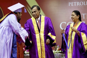 Addressing the 4th convocation of the Pandit Deen Dayal Upadhyay Petroleum University, Ambani urged students to light up the houses of rural poor by electricity. (AP)