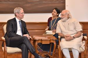 PM Modi with Tim Cook