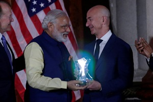 India is Amazon's fastest growing region and we would invest an additional $3 billion in India, boosting its committed investment in the country to over $5 billion, Jeff Bezos told PM Narendra Modi at the USIBC event in US. (Reuters Photo)