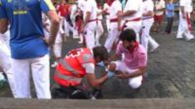 Nerves are high at running of the bulls in Pamplona,Spain