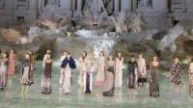 Fendi celebrates it's 90th anniversary in Rome with a fashion show on the Trevi Fountain . (withinterviews)
