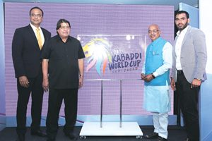 (From left) Sports expert Charu Sharma, JS Gehlot, president, International Kabaddi Federation, Vijay Goel, minister of sports & youth affairs and player Anup Kumar at an event in Delhi