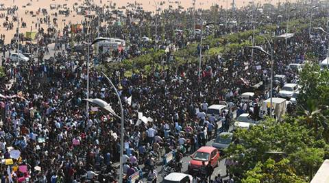 The peaceful protestors at the Marina beach blocked the road for some time, forcing the police to do a mild baton charge to disperse them. (IANS)