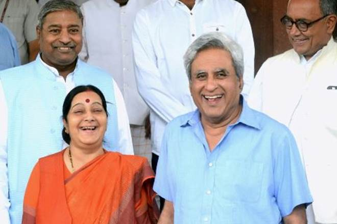 Sushma Swaraj with her husband Swaraj Kaushal at the Parliament. (Source: Twitter)