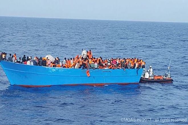 rome, 34 migrants, italy, young children, Libya, migrants, rough waters, smugglers' boat