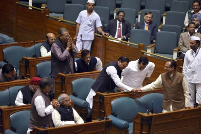 Madhya Pradesh Assembly, Congress, BJP, Narottam Mishra, disqualification, Jyotiraditya Scindia, Sundarlal Tiwari, Rameshwar Sharma, Congress members