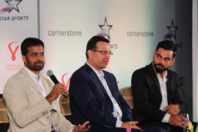 Virat Kohli, Virat Kohli Foundation, RPSG Sports, Sanjiv Goenka, Pullela Gopichand, kohli pledges 2 cr support for players, virat kohli event, virat kohli event in delhi, indian cricket team, indian caption, Indian sports