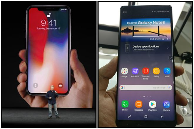 iphone x vs note 8, samsung galaxy note 8 vs iphone x, iPhone x, Galaxy Note 8, Note 8, iPhone, Apple iPhone X, iPhone 8, Samsung vs Apple. iPhone price, iPhone x price, galaxy note 8 price, galaxy note 8 price in india, iphone x price in india