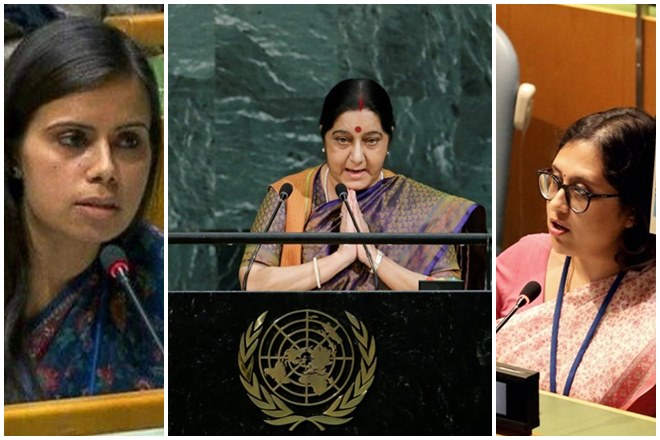 sushma swaraj, Eenam Gambhir, Paulomi Tripathi, how india demolished pakistan, pakistan terrorism, shahid khaqan abbasi, pakistan un, pakistan india, terrorism pakistan, india news, pakistan news, india at un