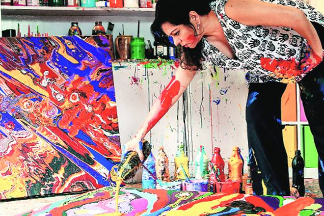 fluid art, new format of fluid art, what is fluid art, Abstract art, Anu Malhotra, MF Hussain, painting, Indian art, art and culture