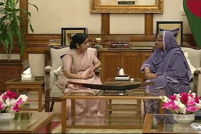 sushma swaraj, external affairs minister, swaraj dhaka visit, eam sushma swaraj, sushma swaraj bangladesh, sushma swaraj bangladesh visit, india bangladesh relations