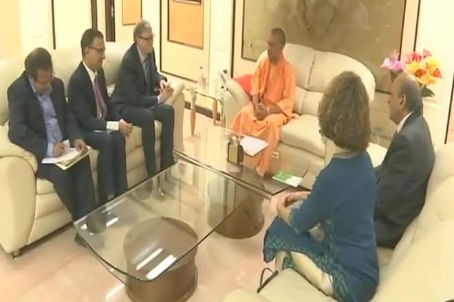 Bill Gates with Uttar Pradesh chief minister Yogi Adityanath