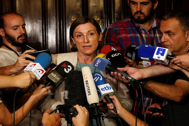 carme forcadell, catalan parliamrent, catalan parliament speaker, speaker forcadell bail, supreme court spain, catalan independence