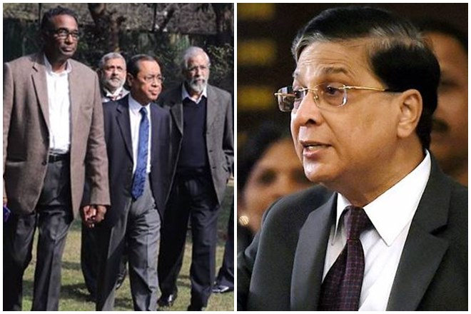 Breaking the ice, Chief Justice of India Dipak Misra and the four dissenting Supreme Court judges — Justices J Chelameswar, Ranjan Gogoi, Madan B Lokur and Kurian Joseph — held talks this afternoon.