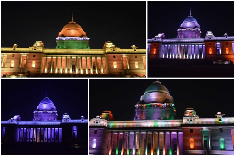 Rashtrapati Bhawan images republic day 2018, Illuminated Rashtrapati Bhawan 2018, Republic Day 2018, President Ram Nath Kovind, Rashtrapati Bhavan, 10 ASEAN countries, 628 light fittings Rashtrapati Bhawan
