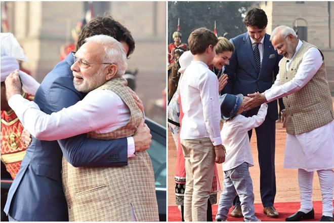 Justin Trudeau India's Visit: Canadian PM gets Modi's signature bear hug