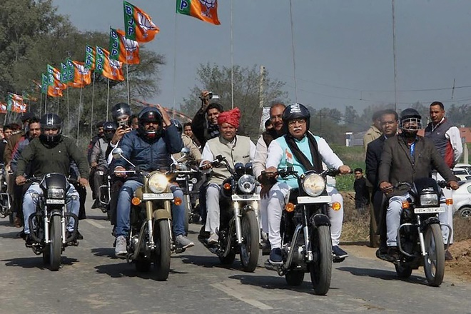 amit shah jind bike rally