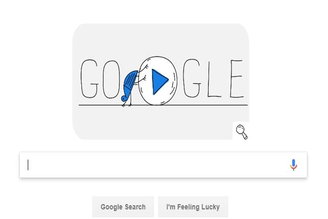 google doodle, winter olympics 2018, peyongchang, lady bird, snowball, ski jumping