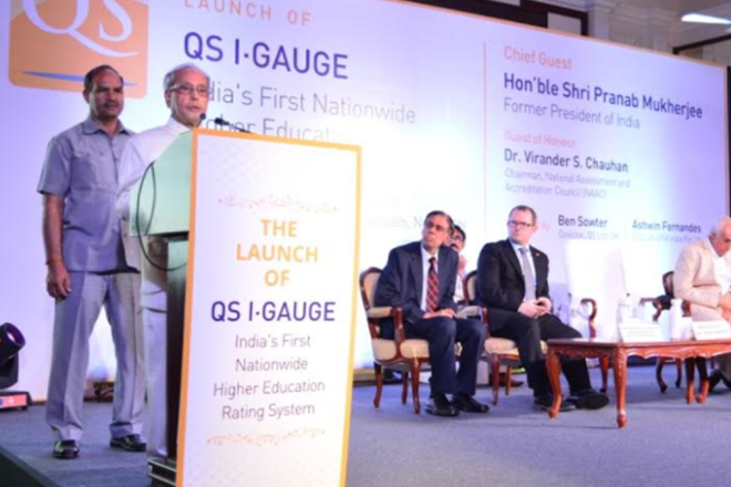 Pranab Mukherjee, India, education sector, eductaion, investment in research, corporate sector, former president, QS I GAUGE,QS,QS ratings,higher education, unskilled people,NAAC, Virander Chauhan, higher education rating system