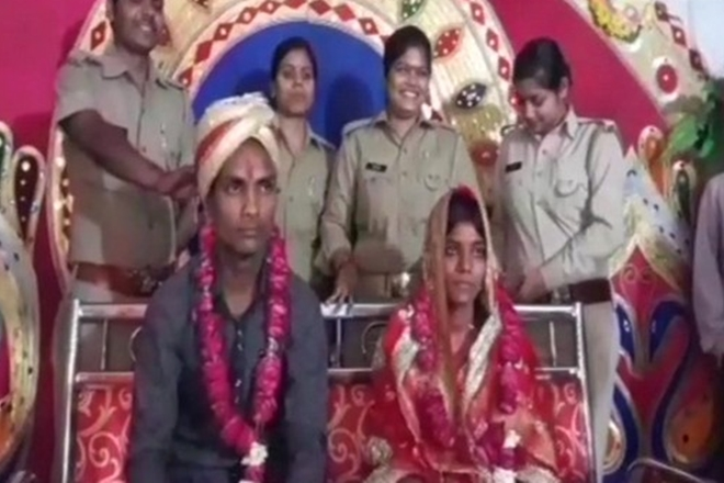 UP couple, police station, marriage,investigation,police arranged wedding
