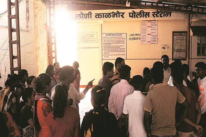 Angry parents held protests at the police station on Saturday. (Source: Indian Express)