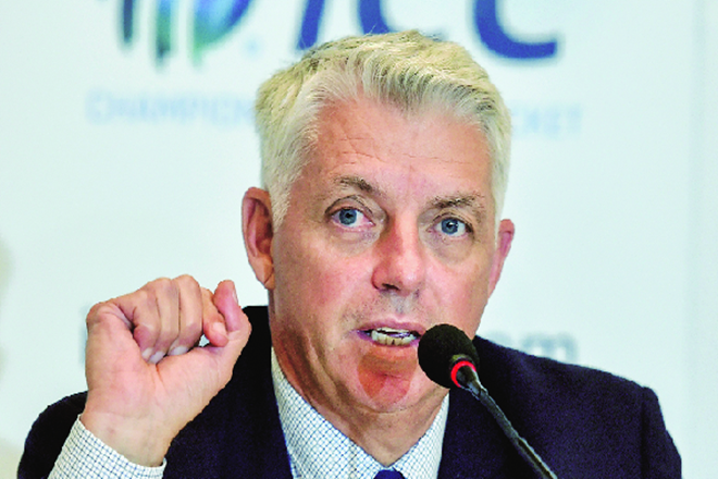 ICC chief executive David Richardson interacts with the media at the end of the ICC board meeting in Kolkata this week.
