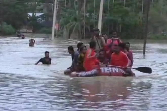 tripura, flash flood, heavy rainfall, families homeless, relief camps