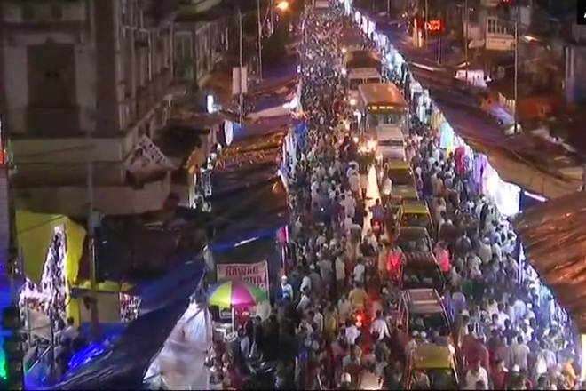 Shoppers in flock to the markets on the eve of Eid ul Fitr on Friday night.