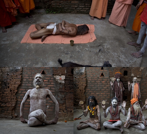 Sadhus perform yoga on International Yoga Day at Kamakhya temple in Guwahati on Thursday. (REUTERS photo)