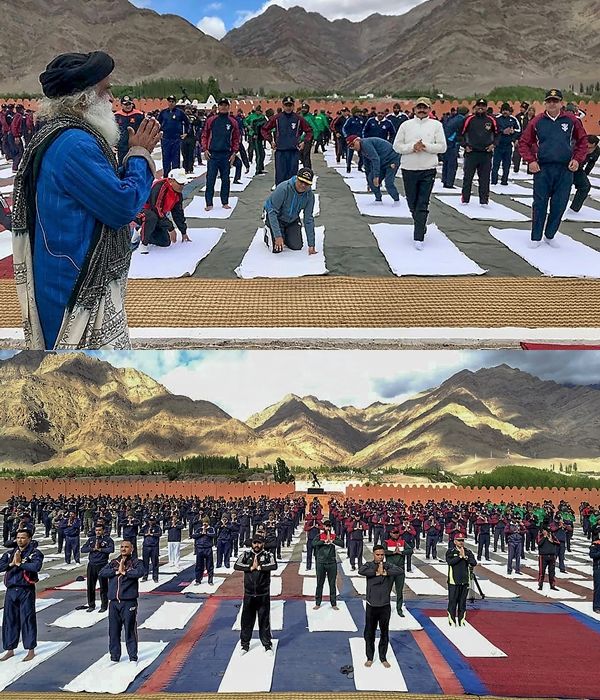 Soldiers at army base camp, Leh practice yoga under the guidance of founder of Isha Foundation Sadhguru Jaggi Vasudev, ahead of International Day of Yoga, in Ladakh on Tuesday