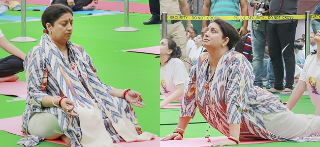 Union Textile Minister Smriti Irani performs yoga to mark the 4th International Day of Yoga 2018 in Chandigarh on Thursday.