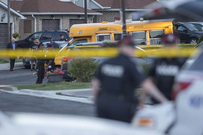 Two girls were wounded and rushed to a Toronto hospital after a playground shooting. (RICK MADONIK / TORONTO STAR)