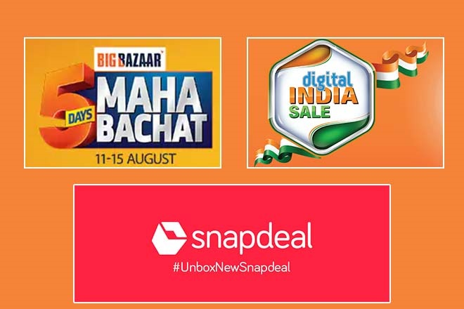 Snapdeal sale, Big Bazaar sale, big bazaar maha bachat offer 2018, samsung freedom sale, flipkart freedom sale 2018, amazon freedom sale 2018, cashback offer, EMI schemes