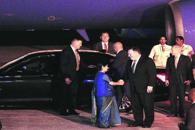 india, us, 2+2 meeting, sushma swaraj, mike pompeo